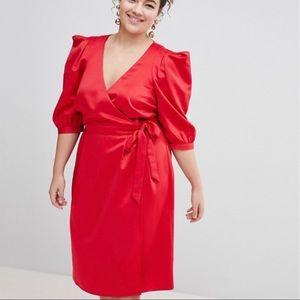 Silk statement sleeve wrap dress